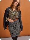 Prisvärd dra-på-kjol, glencheckruta svart/grå