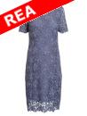 Fodrad spetsklänning, lavendelblå. De luxe-kollektionen